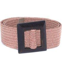 cinturon arpillera hebilla cuadrada rosado mailea