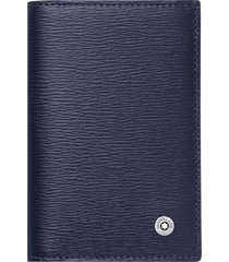 men's montblanc 4810 westside leather card case - blue