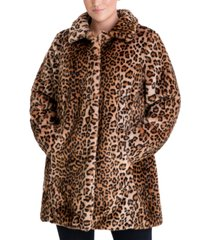 anne klein plus size leopard-print faux-fur coat