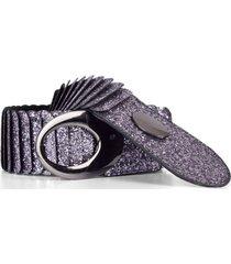 cinturón escamas elástico escarche plata mailea