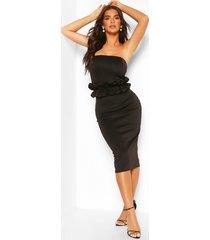 bandeau midi-jurk met ruches in de taille, zwart