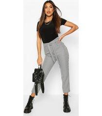 slim fit mini dogtooth broek met ceintuur, black