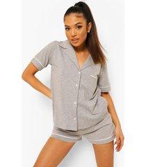 petite jersey pyjama set met shorts en knopen, grey