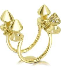 bernard delettrez designer rings, four studs gold and cognac diamonds ring