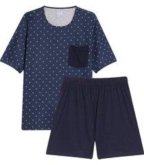 pijama camiseta estampada y short color azul, talla s