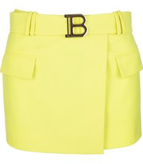 balmain low waist short skirt in yellow wool