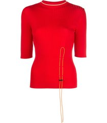 i-am-chen toggle fastened long sleeve top - red