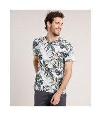 camiseta masculina slim fit estampada floral manga curta gola careca cinza mescla claro