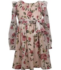 bonnie jean toddler girl long sleeved floral lurex chiffon dress with smocked bodice and self tie