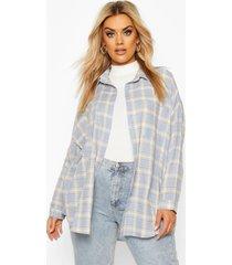 plus flannel oversized shirt, blue