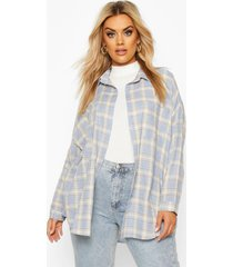plus flannel oversized boyfriend shirt, blue