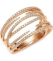 saks fifth avenue women's 14k rose gold & diamond ring/size 7 - size 7