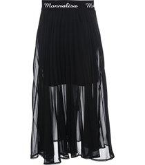 monnalisa logo embroidered pleated skirt