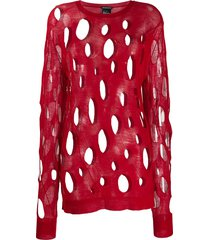 ann demeulemeester distressed sweater - red