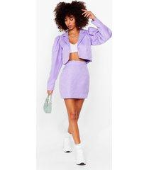 womens like it's jacquard high-waisted mini skirt - purple