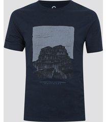 t-shirt i bomull med tryck - marinblå