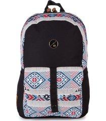 mochila casual para notebook hang loose astral em algodáo e jacquard estampada multicolorido - tricae