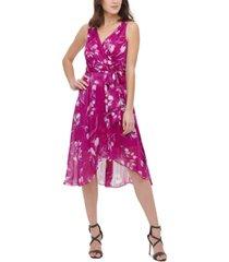 dkny floral-print metallic faux-wrap dress