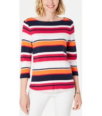 charter club petite cotton striped boat-neck top, created for macy's