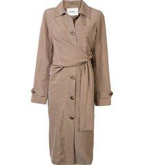 goen.j waist-tied trench coat - brown