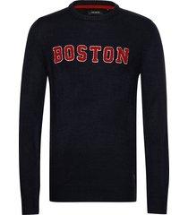chicago crew neck knit stickad tröja m. rund krage blå shine original