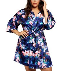 icollection plus size ella floral print satin robe, online only