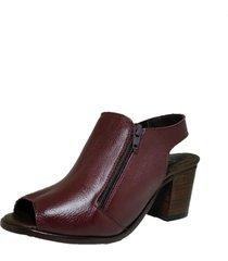 sandália comitiva boots open boot couro capri bordo - tricae