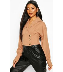 button side structured top, camel