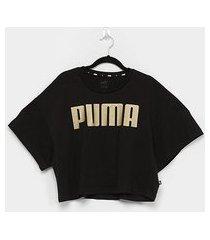camiseta cropped puma rebel fashion feminina