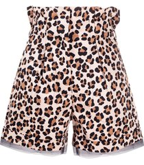 liu jo leopard-print high-waisted shorts - neutrals