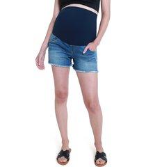 ingrid & isabel(r) over the bump cutoff denim maternity shorts, size 28 in medium wash at nordstrom