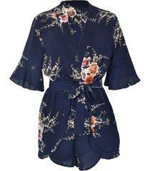 vestido de playa de chifón de manga corta con cuello en v para mujer - azul