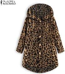 zanzea abrigo de túnica con capucha y estampado de leopardo suelto de primavera para mujer -marrón