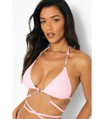 bikini top met bandjes, ketting en halter neck, pink