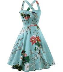 cross back flower print vintage dress