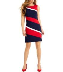 connected colorblock sleeveless sheath dress