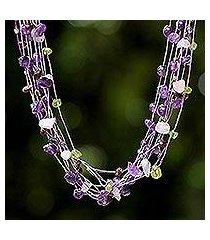 amethyst and rose quartz strand necklace, 'lilac mousse' (thailand)
