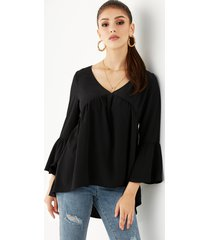 yoins basics blusa casual de manga larga con cuello en v negro