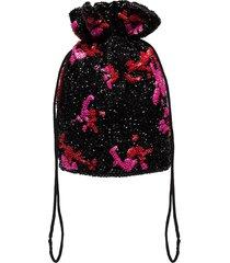 ganni sequinned clutch bag - black