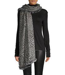 rabbit fur-trimmed leopard cashmere scarf
