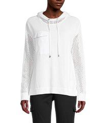 calvin klein women's hooded long-sleeve sweatshirt - soft white - size m