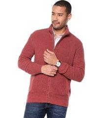 sweater rojo 54 preppy m/l c/alto abi cremallera t.grueso acanalado
