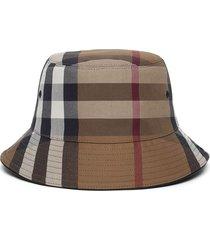 check print bucket hat birch brown