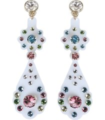 red valentino pendant earrings with crystals