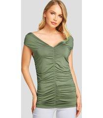 yoins army green fruncido diseño camiseta de manga corta con cuello en v profundo
