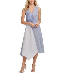 dkny cotton mixed-stripe dress