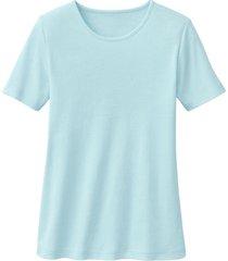 biokatoenen shirt met ronde hals, turkooisblauw 40/42