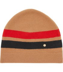 burberry monogram-plaque fine-knit beanie hat - brown
