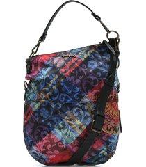 bolsa tiracolo desigual estampada azul/rosa