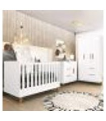 quarto completo para bebê berço cômoda e guarda roupa branco theo imaza baby